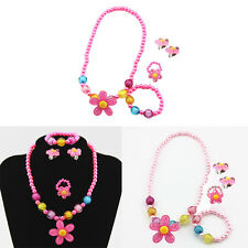 4x  Girl Kids Sun Necklace Bracelet Rings Earclip Pearls Flower Sweet Sets