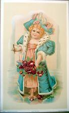 art print~STAR OF THE OPERA~Victorian little Girl roses glasses vtg repro 13x21