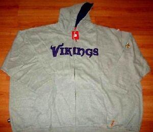 Minnesota Vikings Hoodie 3XL Tall Full Zip UP Jacket NFL Grey Embroidered Logos
