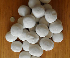 CERAMIC (20) WELSH WHITE GAS+FIRE REPLACEMENT PEBBLES-COALS ROUND FLAT BASE