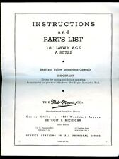 """Moto-Mower 18"""" Lawn Ace A95722 Gas Powered Mower Owners Manual 1951"""