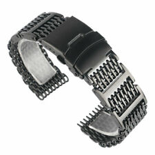 20mm 22mm 24mm Luxury Shark Mesh Watch Band Strap Stainless Steel Replacement
