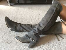 Solcat Grey Leather Over The Knee Riding Boots Size 6 EUR 39