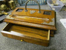 Wooden/Oak  Desk top Pen Rest with Drawer & cut-outs for 2 Ink Wells