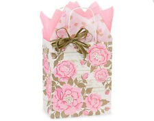 50 shabby chic paper gift shopping bags rose flower wholesale bulk 8x4x10 Cub