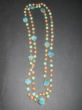 VINTAGE PEARL BEAD NECKLACE HASKELL CZECH TURQUOISE CORAL