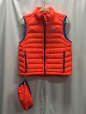 RLX Ralph Lauren Orange Puffer Down Vest Jacket Lt Weight Packable Men NWOT