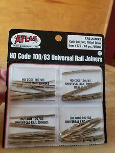 4 Packs Atlas HO Scale Code 100/83 Nickel Rail Joiners 48 each pk  #170  NEW