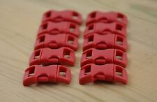 """10 X 3/8"""" 10mm Plastic Contoured Curved Buckles Paracord Bracelets - Dark Red"""