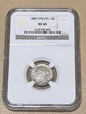 1889 Straits Settlements Victoria 10-C Cents Silver Coin XF-45 - * KEY 🔑 DATE!