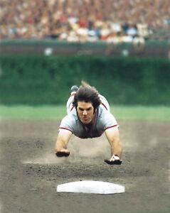 "Pete Rose - 8"" x 10"" Photo - Superman Dive - Cincinnati Reds"