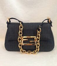 FENDI Black FF Monogram Canvas Leather Evening Handbag, Gold Chain Handle