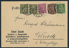 Dt. Reich 5 Pf. Ziffer WZ Waffeln Postkarte Breslau Neurode 1922 geprüft (S12700