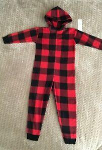 NEW GAP Kids size 4 hoodie pajamas red Buffalo Plaid girls or boys hooded pjs 4T