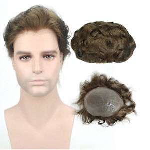 8x10'' Light Brown Skin PU Toupee Men's Hairpiece Human Hair Replacement System