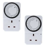 2 x 24 Hour 24hr Mains Plug In Timer Switch Time Clock Socket UK 3 Pin Adapter