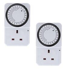 2 X 24 Horas 24 horas a la red eléctrica enchufe en temporizador interruptor Reloj De Tiempo Socket Uk 3 Pin Adaptador