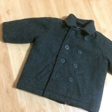Childrens Place Boys Gray Pea Coat Peacoat  Size 12mo. 12 months Sailor Buttons