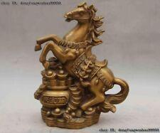 Chinese Bronze Wealth Money Yuanbao Horse Treasure Bowl Success Running Statue