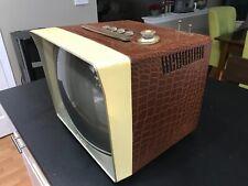 "VTG General Electric 17"" Portable TV w/Faux Alligator Case - RARE & SO Cool!!"