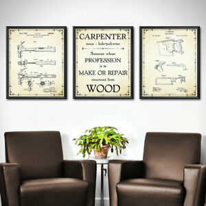 CARPENTER GIFT Woodworking Set of 3 Prints Gift Home Decor Wall Art Patent 1897