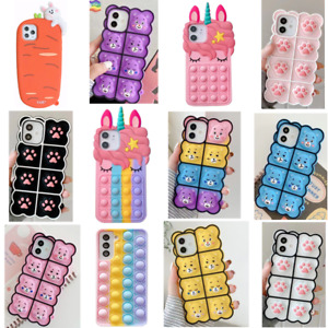 Cute Bubble Sensory Silicone Case Cover for iPhone13 12 11 Pro Max 8 7 6 Plus XR