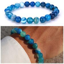 Bracciale uomo pietre in agata con pietra dure braccialetto azzurro elastico blu