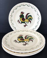 "Metlox Poppytrail Rooster California Provincial Dinner Plates 10"" Set Of 4"