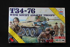 YD036 ESCI 1/72 maquette tank char 8626 TP34-76 with Soviet Assault Troops