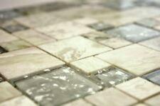 Mosaïque combinaison pierre verre onyx vert clair or bain 88-MC639_b   1 plaque