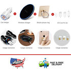 White Dual Ports Car Charger&Qi Wireless Charger Mat&Finger Ring Stand Holder