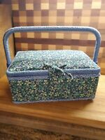 Vintage Pink Floral Fabric Covered Sewing Box Handle Plastic Tray Lined