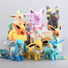 Set of 9 New Pokemon Evolution of Eevee Flareon Stand Plush doll Toy Eeveelution