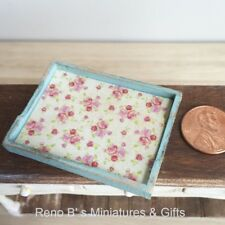 Dollhouse miniature accessories 1:12 Shabby Chic Wooden Tray blue NEW