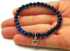 Pulsera Lapis Lazuli Estrella De David. Plata 1ª Ley .925 Nueva.