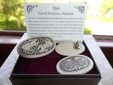 Celtic Porcelain Hare Brooch Earrings Set