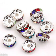 20Pc Acrylic Silver Plated Spacer Loose Beads Charms Crafts Jewelry Findings DIY