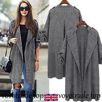 US Womens Ladies Waterfall Cardigan Coat Long Sleeve Jacket Overcoat Outwear Lot