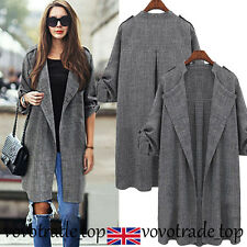 UK Womens Ladies Waterfall Cardigan Coat Long Sleeve Jacket Overcoat Outwear Lot Gray M