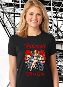 "Ruhrpott Premium T-Shirt ""Biker Girl Roses"" Ruhrgebiet Motorrad S-5XL"