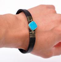 Turquoise Natural Druzy Quartz Black Leather Bracelet Cuff Wristband Bangle Mens