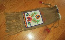 Vintage Early 20thC Native American Indian Crow Pipe Tobacco Beaded Leather Bag