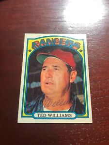 1972 Topps Hand Signed Ted Williams #510 Autographed Baseball Card ~ Rangers
