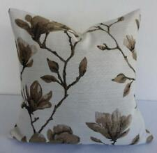 Deep & Mid Brown Jacquard Damask Magnolia Renaissance Floral Cushion Cover 45