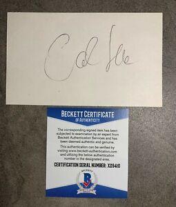 Carl Lewis Signed 3x5 Index Card Cut Beckett BAS COA USA Sprinter Olympics Auto
