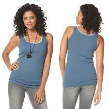 BOYSEN'S Tanktop mit Spitze Top Shirt gerippt Blau Gr. 32 34 44 46 48 50 NEU