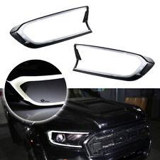 2x White LED Front Head Light Cover Trim For 2015-17 Ford Ranger T6 Facelift MK2