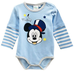 Disney Baby Mickey Mouse Toddler Bodysuit Grow Playsuit 100% Cotton