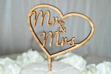 Wedding Cake Topper Mr & Mrs Love Heart, Rustic Wooden Wedding Tassie Oak D3