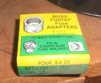 4-PK LOT SA-20 Amp FUSESTAT Plug BUSS Adapter Fit EDISON BASE Holder NEW NOS
